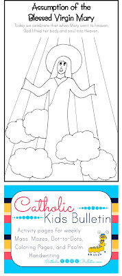 Catholic Kids Bulletin Coloring Page Assumption of the Blessed Virgin Mary