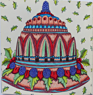 Christmas cake adult coloring page