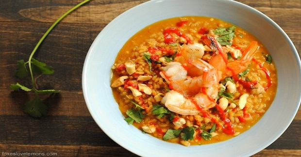 Spicy Coconut Risotto With Lime Shrimp Recipe