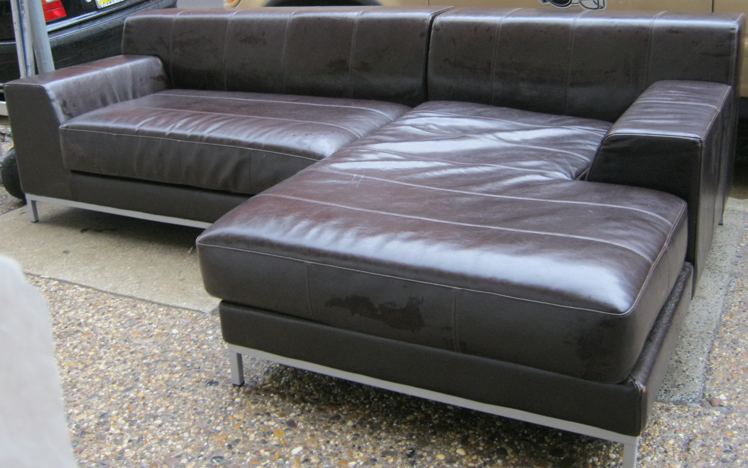 kramfors leather sofa nolan reclining fred meyer ikea sectional replacement slipcovers