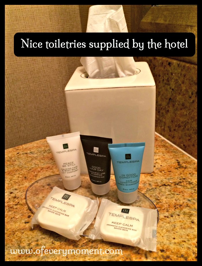 I loved the toiletries provided by our hotel