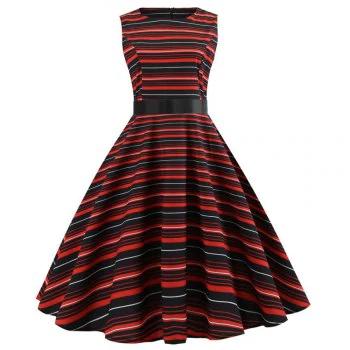 Winter Sleeveless Hepburn Wind Waist Christmas Dress