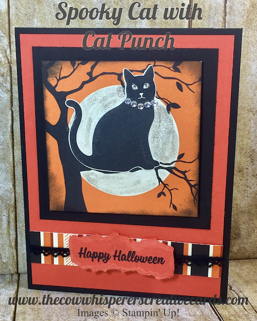Spooky Cat, Cat Punch, Halloween, Spooky Night Suite, Card, Trick or Treat, Vintage Crochet Trim