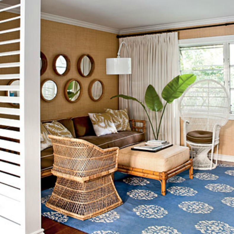 coastal blue and tan living room
