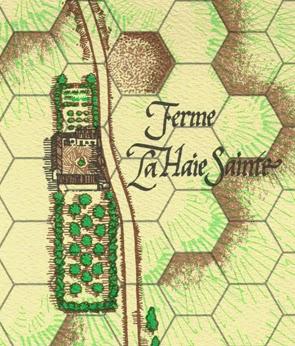 La Haie Sainte appears on the map for La Bataille de Mont Saint Jean by Clash of Arms