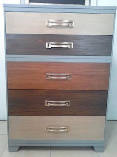 patchwork mid century modern grey dresser brass pulls