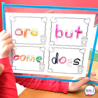 Sight word practice mats are awesome for practicing high frequency words in a hands on way. Makes a GREAT literacy center. Click to find out about the different ways to practice sight words.