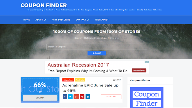 Coupon Finder discount codes website