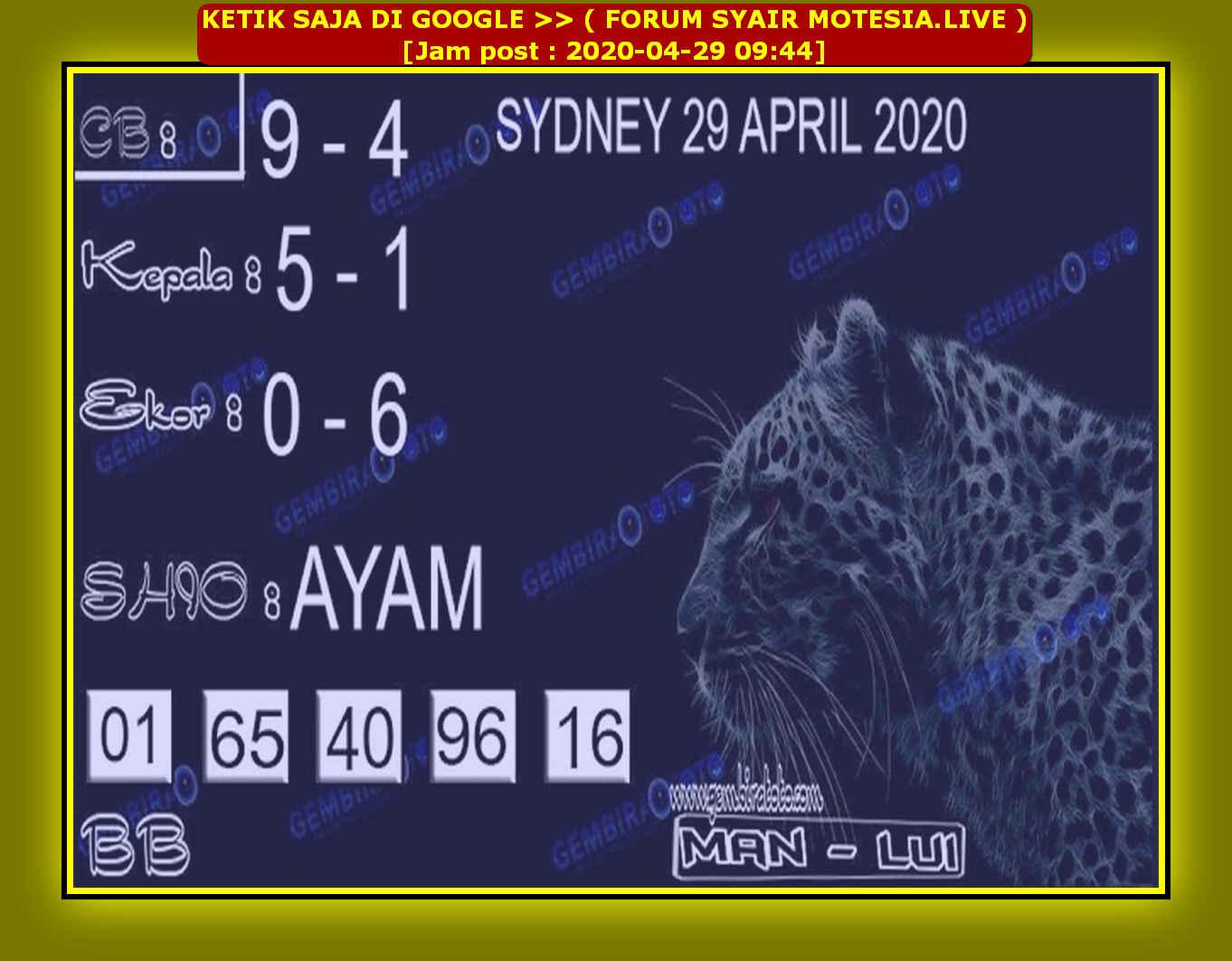 Kode syair Sydney Rabu 29 April 2020 59