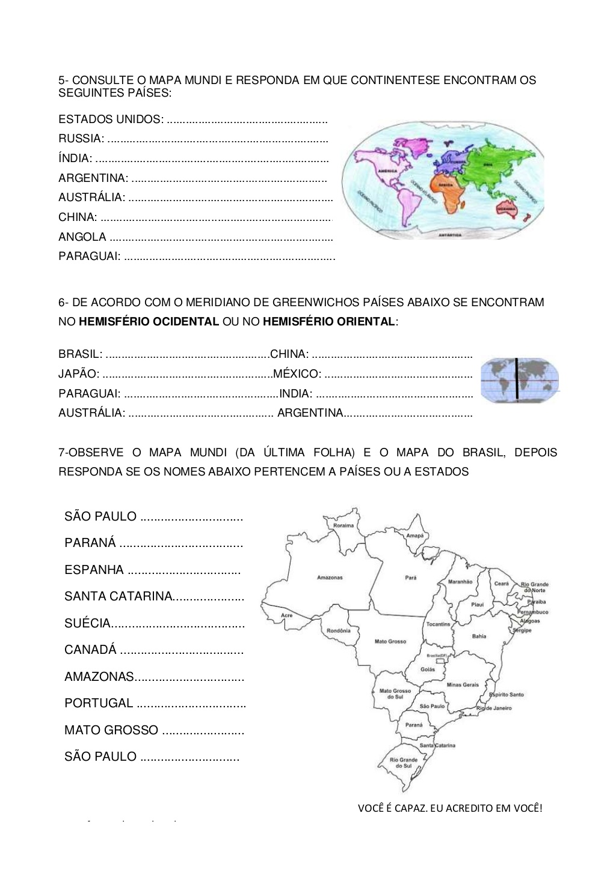 Exercícios Sobre Continentes