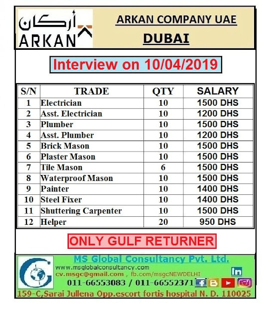 Urgent Hiring for ARKAN Company UAE-Interview on 10-4-2019