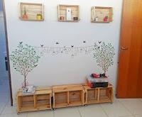 Cajones de madera reciclados en el hogar