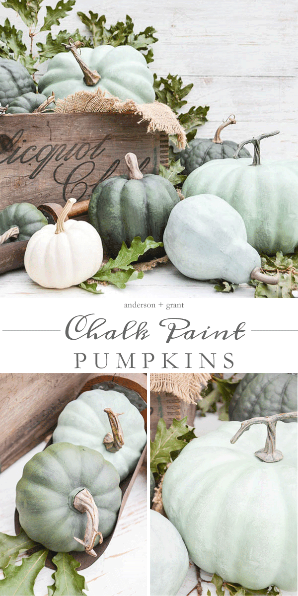 Tutorial for making realistic chalk paint pumpkins for fall.  ||  www.andersonandgrant.com