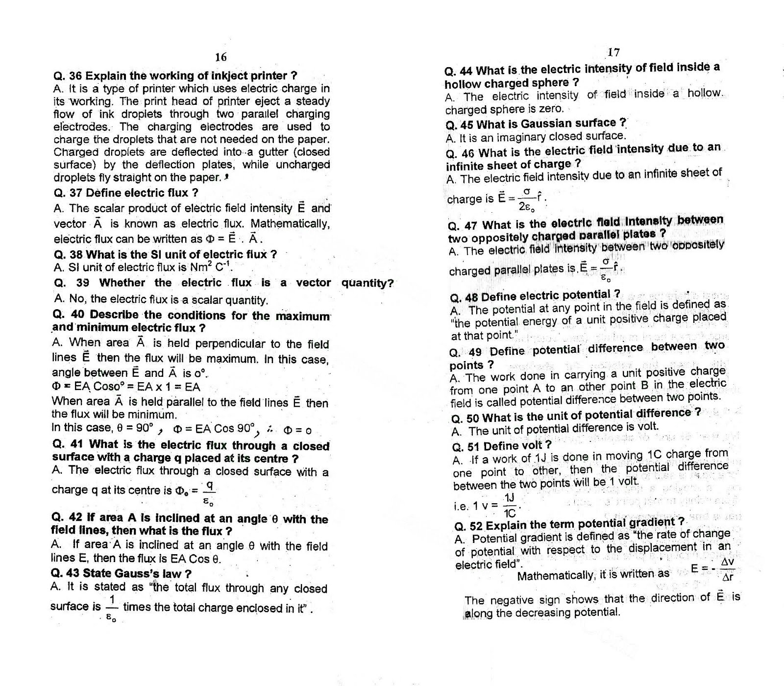 2nd Year Physics Chapter 12 Electrostatic Short Questions Notes 3