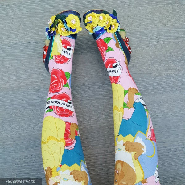 yellow pink and blue beauty and the beast tights