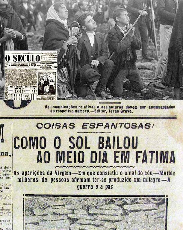 Destaque do jornal 'O Século', de 15 de outubro de 1917: 'Como o sol bailou ao meio dia em Fátima'