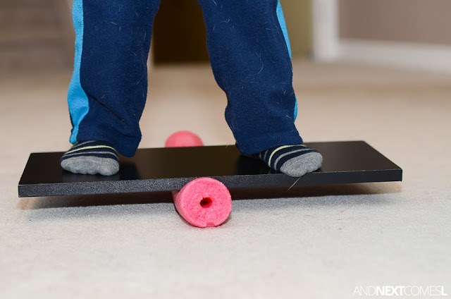 DIY balance board - DIY sensory hacks for kids from And Next Comes L