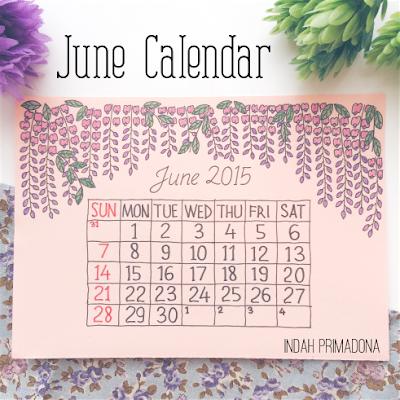 june calendar, kalender juni, diy calendar, membuat kalender sendiri