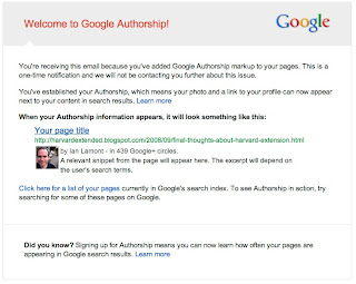 Google Authorship notice