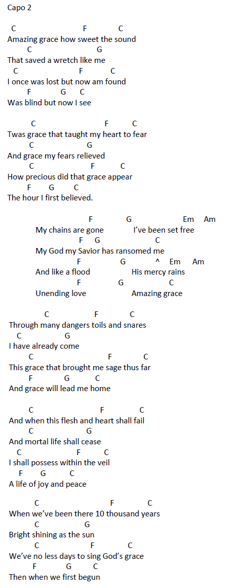 Songs With Chords Amazing Grace My Chains Are Gone