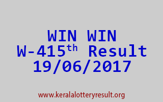 WIN WIN Lottery W 415 Results 19-6-2017