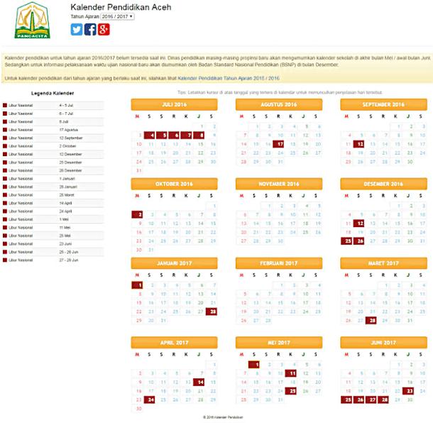 Kalender Pendidikan Tahun Ajaran 2016-2017 Semua Provinsi di Indonesia