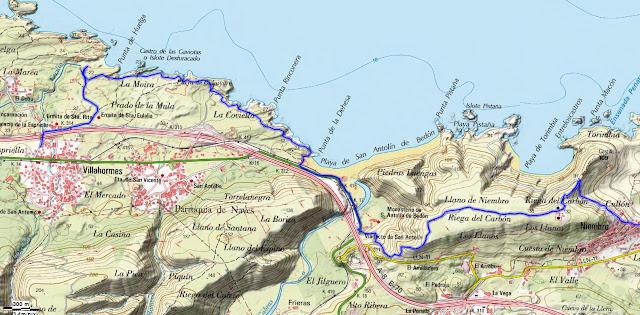 Mapa Topográfico 3 Senda Costera Llanes Villahormes