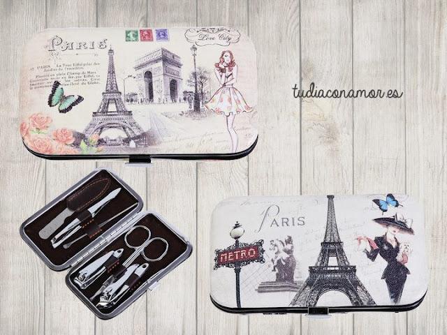 Detalle femenino de estilo retro vintage parisino con motivos e ilustraciones de la Torre Eiffel, bonito set de manicura