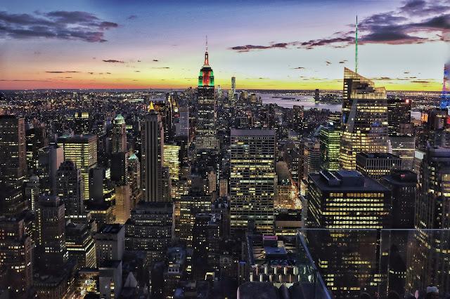 NYC skyline Christmas sunset new york city