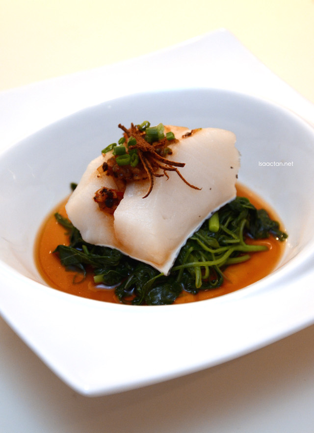 One of the dishes that was served that night, Steamed Black Cod, Mandarin Peel, Black bean paste and spring spinach
