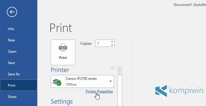 cara print dalam hitam putih