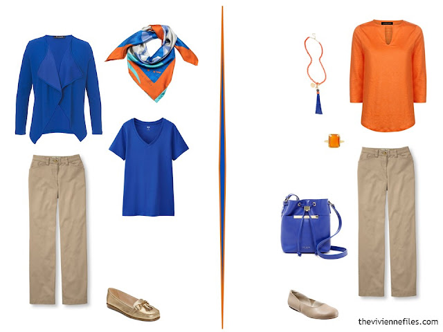 two outfits using beige pants and bright blue and orange tops