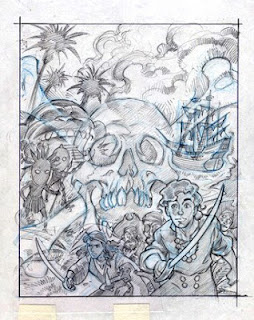 Boceto original Steve Purcell portada Monkey Island