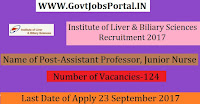 Institute of Liver & Biliary Sciences Recruitment 2017– 124 Assistant Professor, Junior Nurse