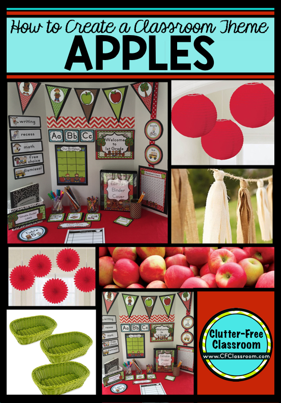 Are you planning an apple themed classroom or thematic unit? This blog post provides great decoration tips and ideas for the best apple theme yet! It has photos, ideas, supplies & printable classroom decor to will make set up easy and affordable. Click through to see how to create an apple theme on a budget.