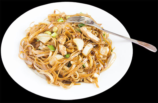 Chinese food - Rice noodles fried with pork, onion and spring onion