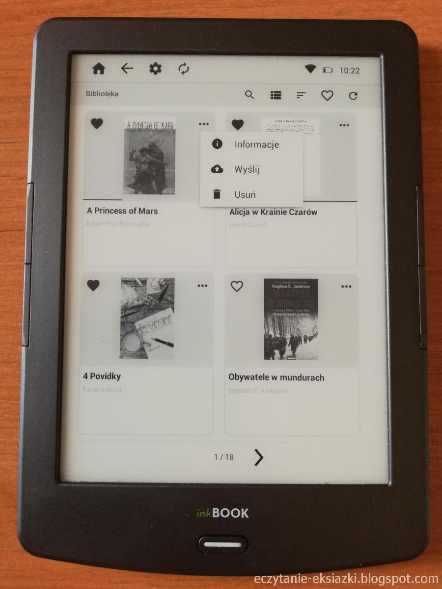 InkBOOK Classic 2 - z poziomu biblioteki jest możliwość uzyskania informacji o ebooku, wysłania go do chmury lub usunięcia