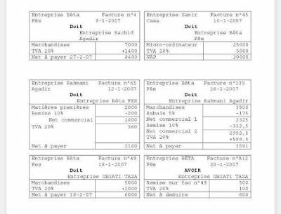 Comptabilité générale : exercice corrigé ( factures + comptabilisation).