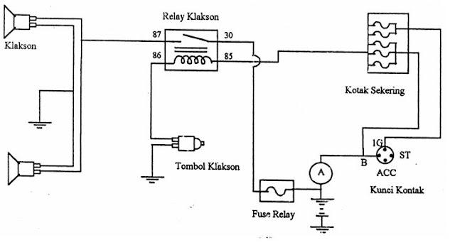 wiring diagram klakson dengan relay