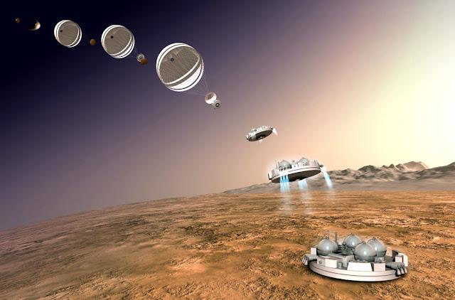 sonda Schiaparelli chegando em Marte