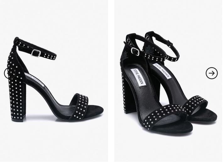 Steve Madden - Sandale negre elegante cu toc din piele naturala de firma