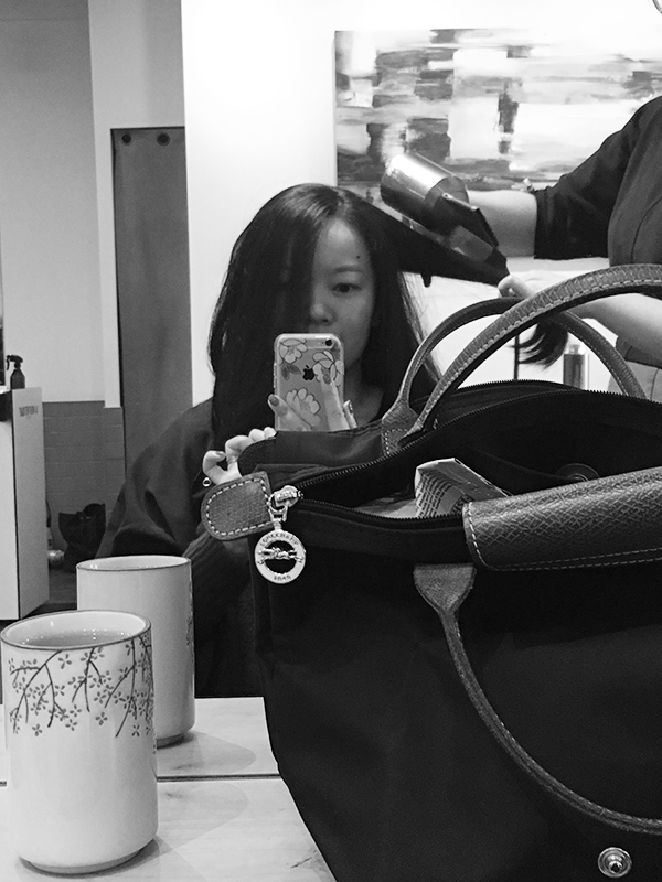 Getting a blowout at Eliane Hair & Spa