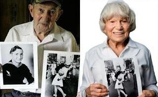 Glenn Edward McDuffie (marinero) y Edith Shain (la enfermera), los famosos protagonistas del beso del Times Square. V-J Day in Times Square. Fotos insólitas que se han tomado. Fotos curiosas.