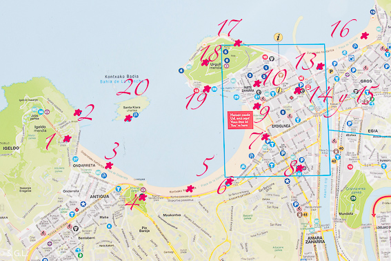 Mapa. 20 cosas para ver en Donostia