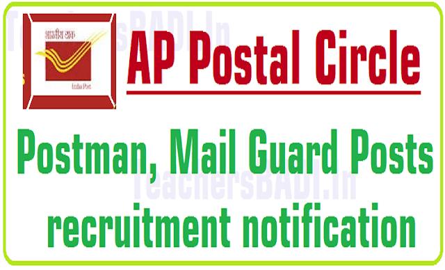 AP Postal Circle Postman,Mail Guard Posts 2019 recruitment notification
