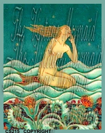 art deco vintage mermaid in blue