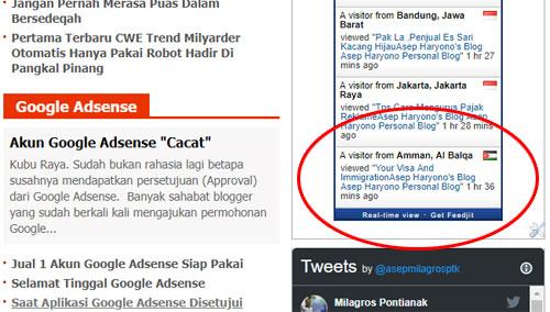 Inilah screenshot adanya pengunjung blog saya yang berasal dari kota Palestina berdasarkan data dalam traffic Live Feed yang saya pasang di blog.  Apakah data ini valid?