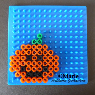 orange smiling pumpkin pattern perler fused beads design