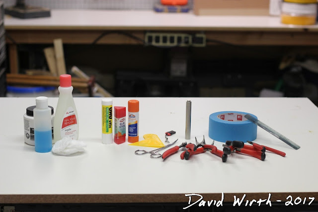 tools and materials needed for 3d printer, 3d printing, tape, pliers, glue, acetone