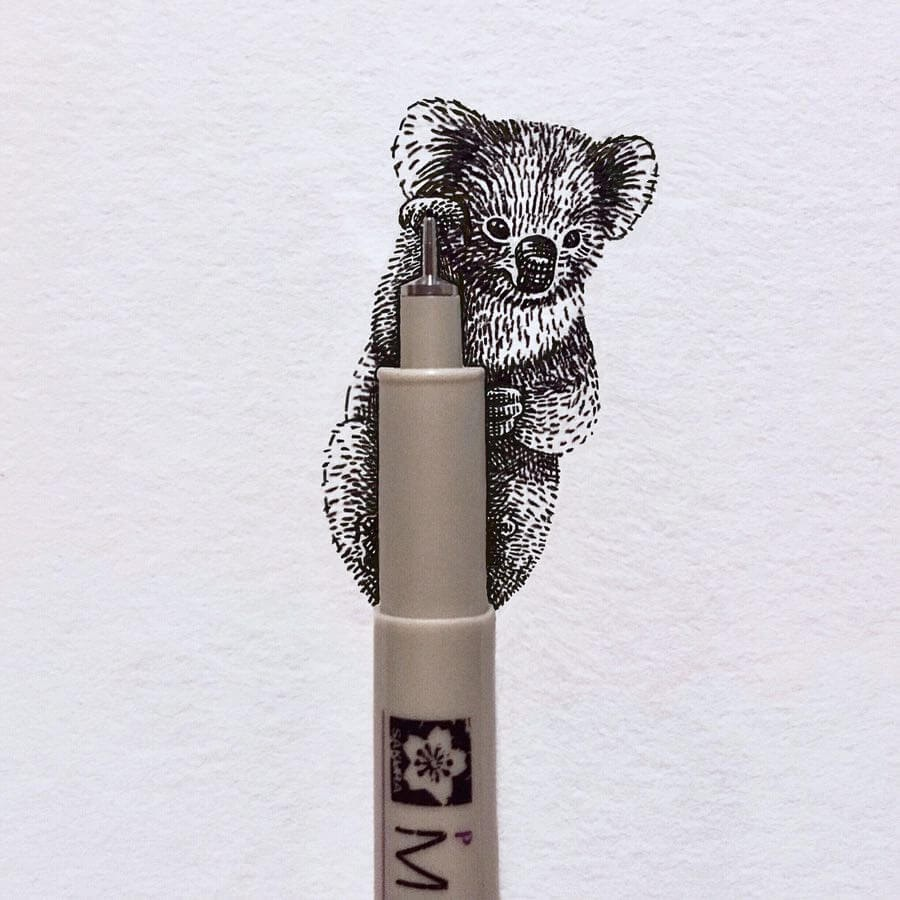 03-A-Koala-Hug-Bryan-Schiavone-Tiny-Animals-in-Pen-and-Ink-Drawings-www-designstack-co